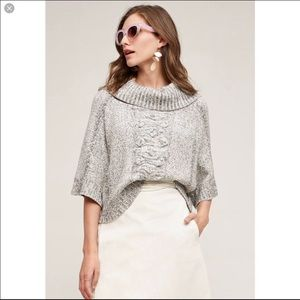 Anthropologie Field Flower Cable Knot Pullover